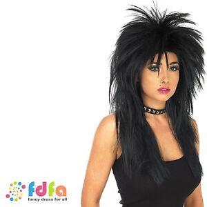 BLACK SPIKEY GLAM RETRO PUNK ROCK N ROLL 80S WIG  - ladies fancy dress costume