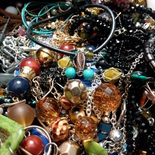 Jewelry Lot 1 pound mixed craft wear harvest salvage resell flea resale