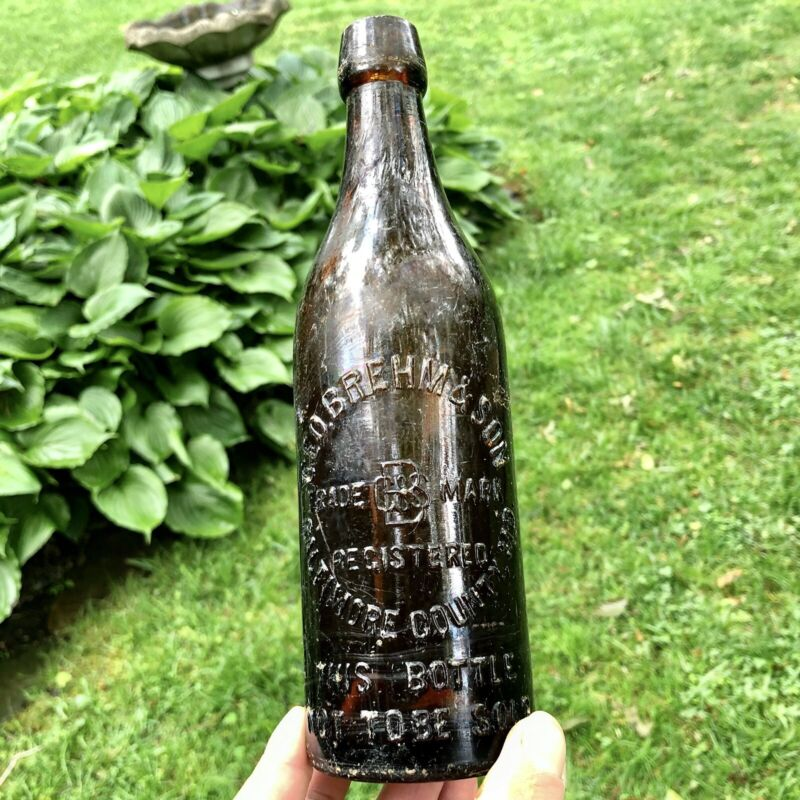 Blob Top Beer Bottle Geo Brehm & Son Baltimore County MD Maryland Amber Scarce