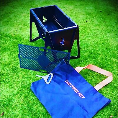 Flat pack BBQ grill, Fire Pit.High Quality. Custom Made Canvas Carry Bag