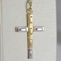 Colgante De La Cruz Oro Amarillo Blanco 750 18 Ct,rectángulos,satinado, -  - ebay.es