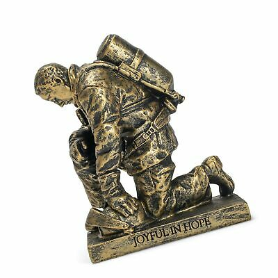 Dicksons Joyful In Hope Praying Firefighter 5 Inch Gray Resin Stone Table Top... - $35.99