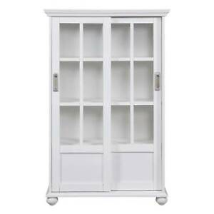 Aaron Lane Bookcase With Sliding Glass Doors   White   Altra