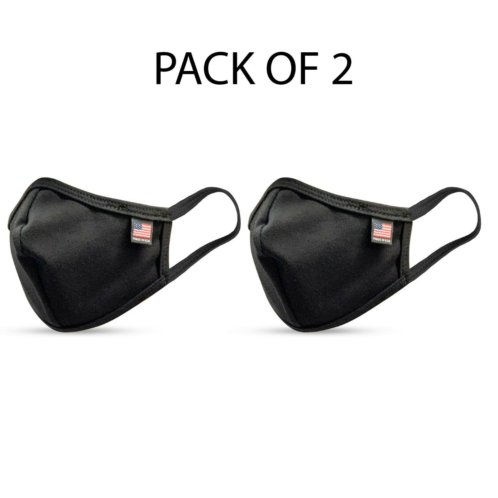 2PCS PACK Made in USA Face Cotton Mask (black) Accessories