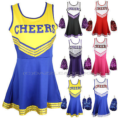 Adult Cheerleader Costume (CHEERLEADER FANCY DRESS OUTFIT UNIFORM HIGH SCHOOL MUSICAL COSTUME WITH POM)