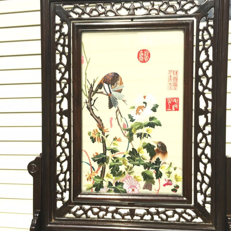 """19"""" CHINESE SUZHOU DOUBLE SIDED SILK EMBROIDERY TABLE SCREEN FLOWERS VINTAGE"""