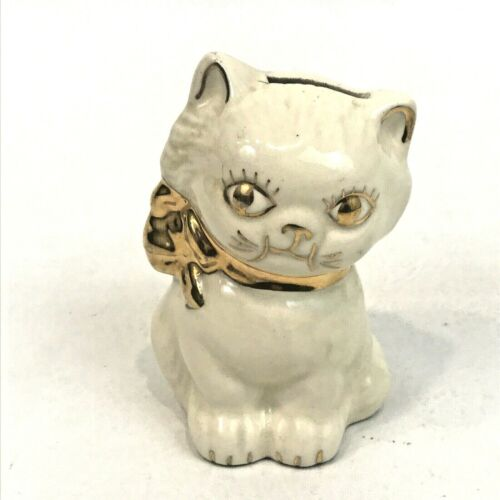 """Vintage Cat Bank White Gold Figure Kitten Kitty Collector 4.5"""" Collectible Piggy"""