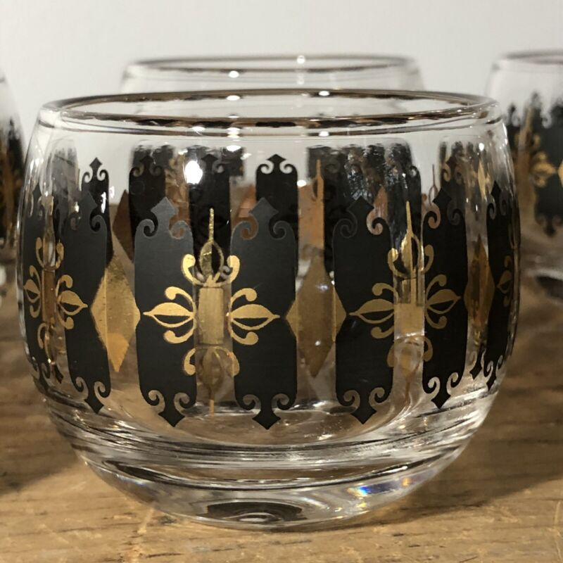 8 Vintage Roly Poly Rocks Tumblers Black And Gold Diamond Harlequin Glasses