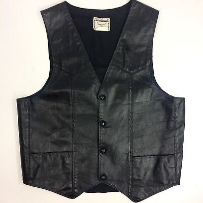 Vtg Steer Brand Men BLACK Leather MOTORCYCLE Biker COWBOY WESTERN WaistCoat Vest for sale  Shipping to India