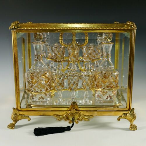 Antique French Gilt Bronze Tantalus Cabinet Caddy Box, Cut Crystal Liquor Set
