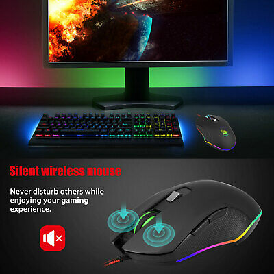 Gaming Mice Mouse 3200DPI USB RGB Flowing Backlit Light Wired PC Laptop Computer 1