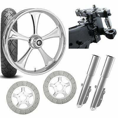 RC 26 Clutch Chrome Wheel Tire Neck Rake Front End Package Harley Dual Disc