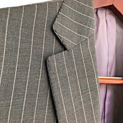 Current Isaia Super 160s Gray Striped Suit 38S
