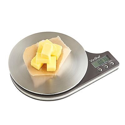 VonShef Round Digital Electronic Kitchen Food Weighing Scale 11lb / 5kg Capacity