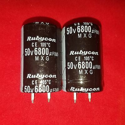 2 X 6800uf 6800mfd 50v Electrolytic Capacitor 105 Degrees Usa Free Shipping