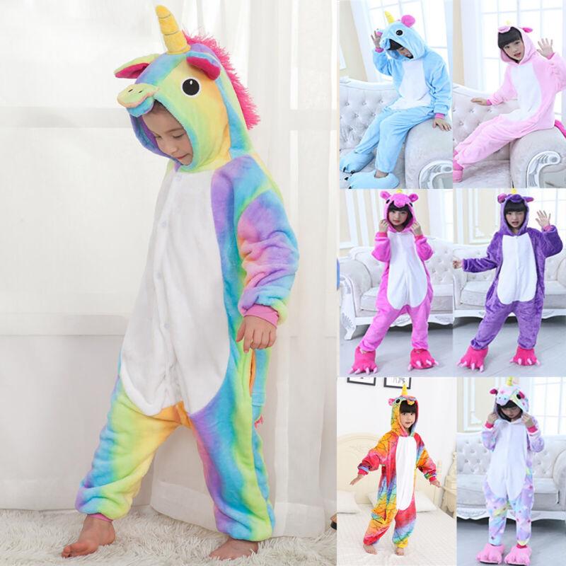 Mädchen Einhorn Pyjama Nachtwäsche Kapuzen Jumpsuit Overall Süß Kinderkleidung