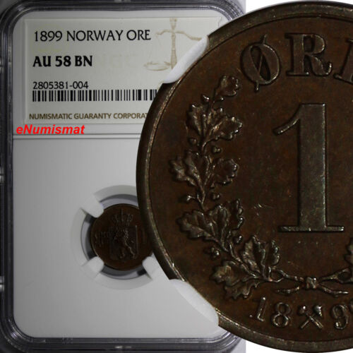 Norway Oscar II Bronze 1899 1 Ore NGC AU58 BN  Norwegian Lion  KM# 352