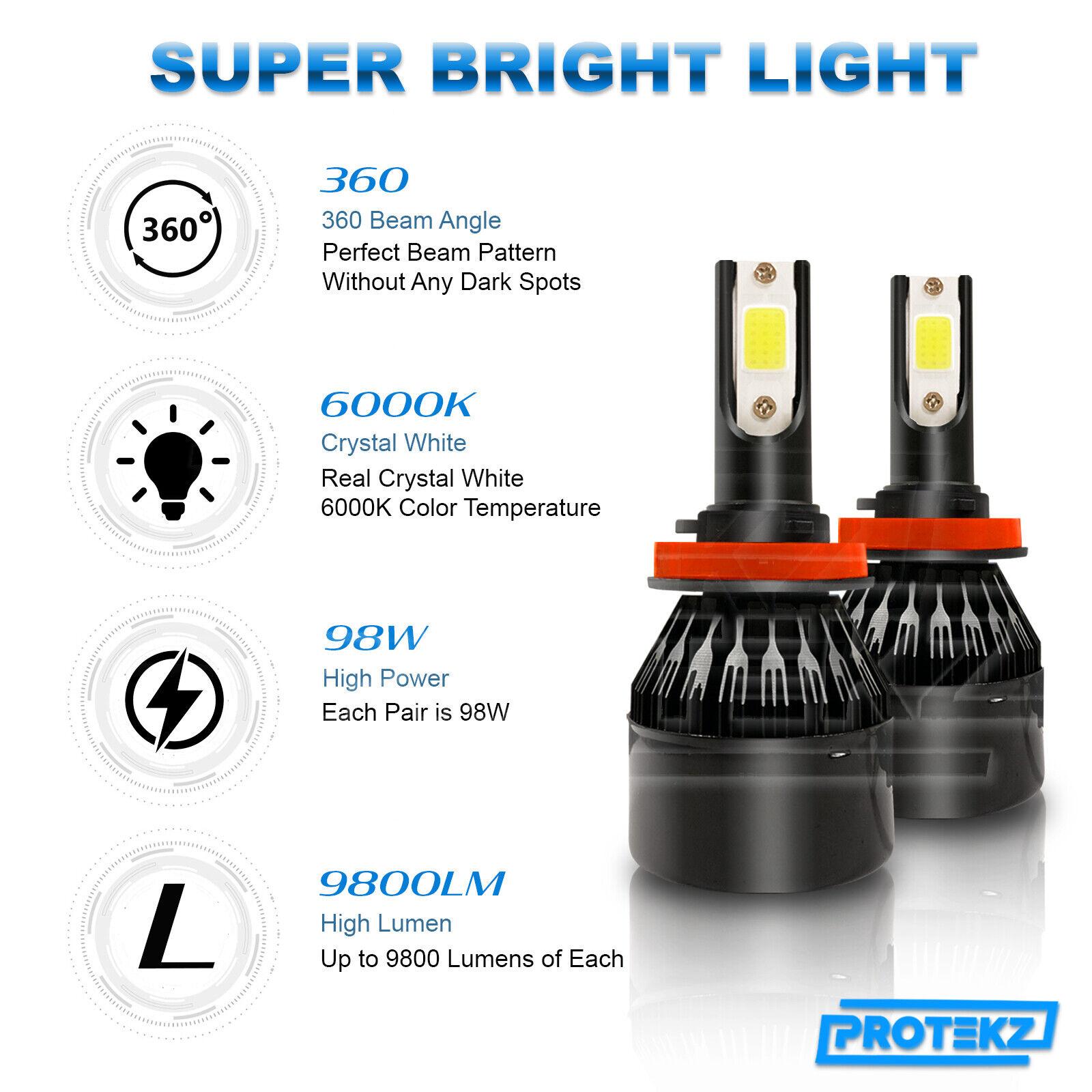 Owner 9005+9006 CREE LED Headlight Kit 60W 7200LM Light Bulbs High & Low Beam Combo