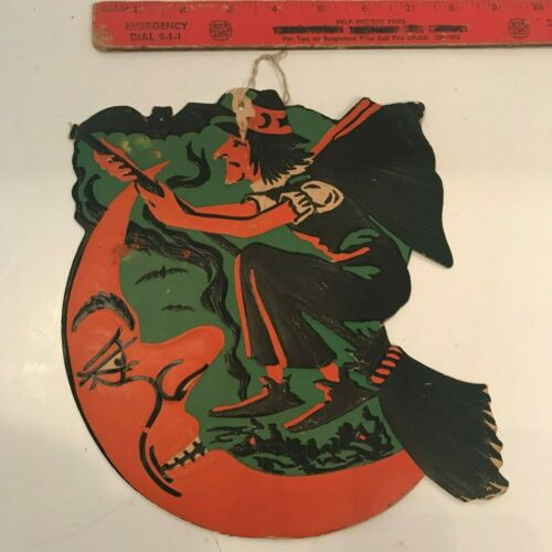 Vintage Halloween Cardboard Diecut Die Cut Beistle Witch Bat Moon 1930s-1950s