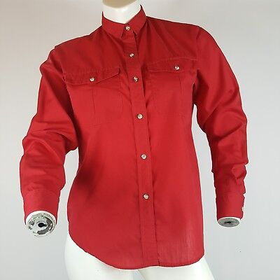 Vintage 80s Movie Star Womens Button Down Shirt Red Long Sleeve Pockets Top