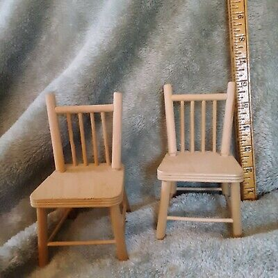 """BARBIE DOLL SIZE WOODEN KITCHEN CHAIRS SET OF 2. 6"""""""