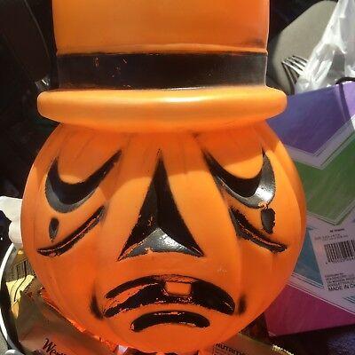 Vintage Blow Mold HALLOWEEN  2 FACED Jack-O-Lantern Pumpkin Candy Bucket Slash - Halloween Jackolantern Faces