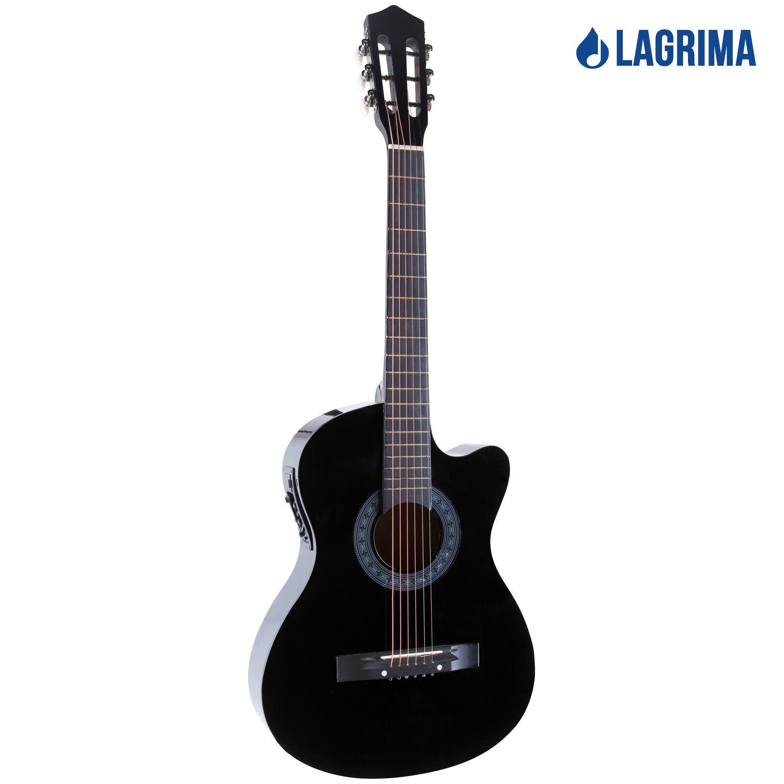 38 electric acoustic guitar cutaway design with guitar case strap tuner black 699985406695 ebay. Black Bedroom Furniture Sets. Home Design Ideas