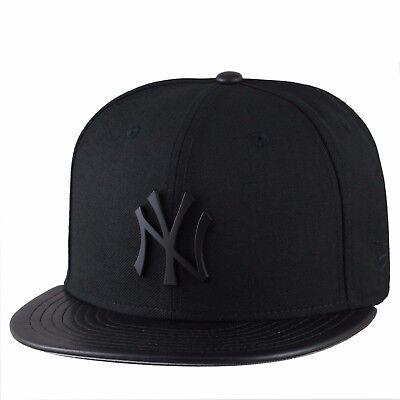 - (RARE) New Era New York Yankees Fitted Hat BLACK METAL BADGE/PU LEATHER Visor