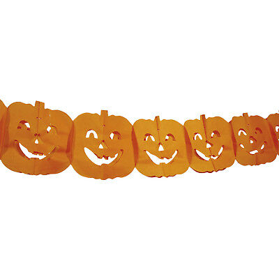 4m Haunted Halloween Gothic Orange Pumpkins Hanging Paper Garland Decoration