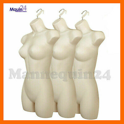 3 Female Mannequin Torsos - Plastic Womens Hanging Dress Forms