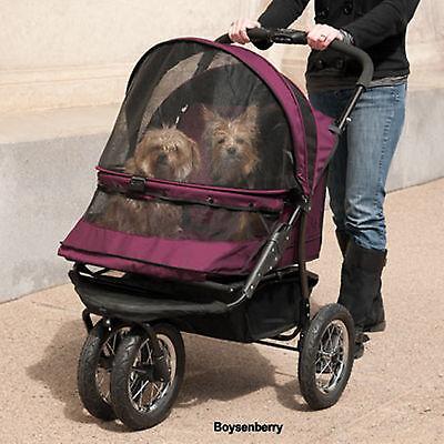 Double Pet Stroller Pet Gear No-Zip Boysenberry 90 lbs 4-5 small 2 med PG8700NZB