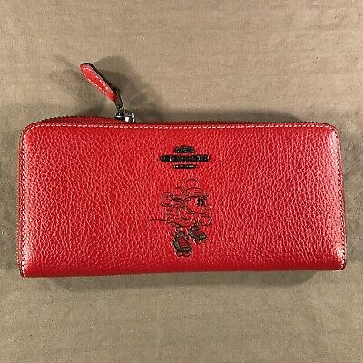 COACH X Disney Minnie Mouse Slim Accordion Wallet Limited Edition Leather New!