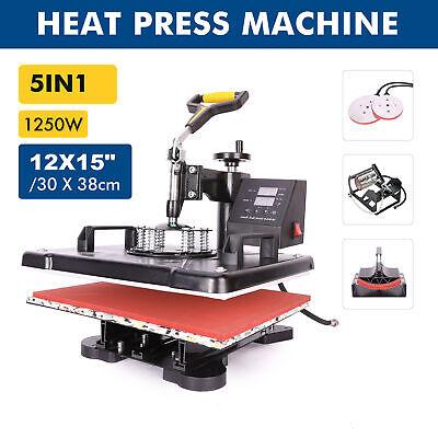 5 In 1 12x15 Digital Heat Transfer Sublimation Cap Hat Mug Printing Machine Diy