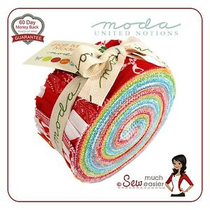 Moda-Jelly-Roll-Quilt-Fabric-Half-Moon-Modern-Rolls-Momo-retro-bright-fabrics