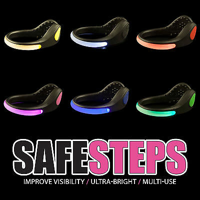 Safe Steps LED Clip On Shoe Safety Light Night Running Walking Reflective Gear