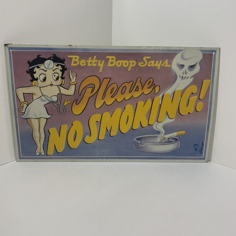 Betty Boop Says Please No Smoking Metal Tin Sign 1991 King Features Syndicate