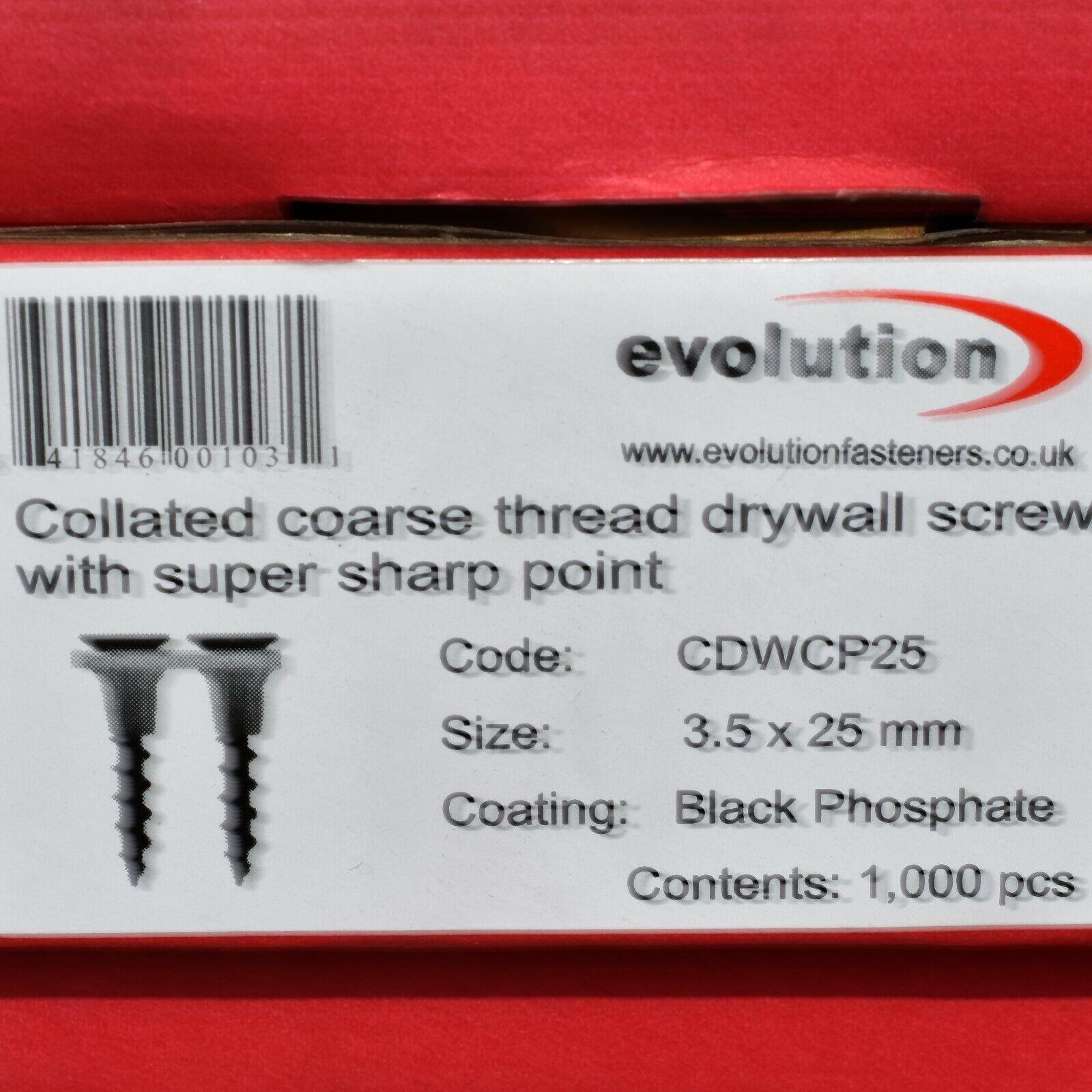 3.5x50mm Drywall Screws Coarse Thread Sharp Point box of 1000