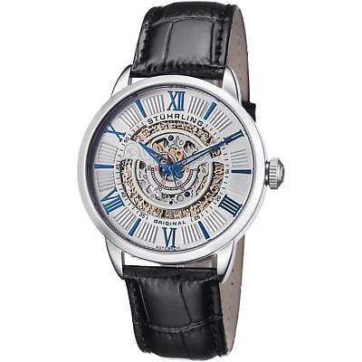 Stuhrling Delphi 696 Men's 44mm Automatic Black Calfskin krysterna Watch 696.01