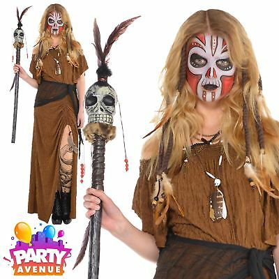 Womens Witch Doctor Dress Halloween Costume Voodoo Fancy Dress & Accessories - Witch Fancy Dress Accessories