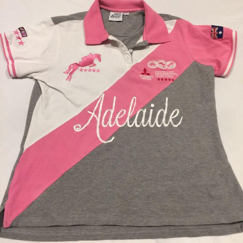 Stunning Ladies Polo Shirt Pink Grey White Adelaide Horse Trials 5 Star 14 VGC