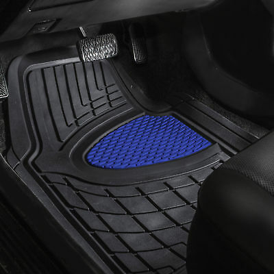 Car Floor Mats for Auto Car SUV 4pc Set All Weather Semi Custom Fit Blue Black
