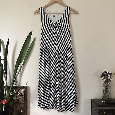 Anthropologie Lilka Rare Intersections Striped Day Dress Navy White Size S