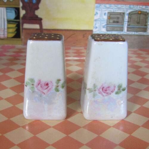 Antique Lustre Rose Pink White Gold Porcelain Small Floral Painted Salt Shakers