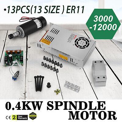 Cnc 0.4kw Spindle Motor Er11 Mach3 Pwm Controller Mount Grind Brushed Drive