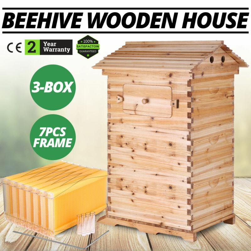 7pcs Auto Honey Hive Beehive Frames + Beekeeping Brood Cedarwood Box Set