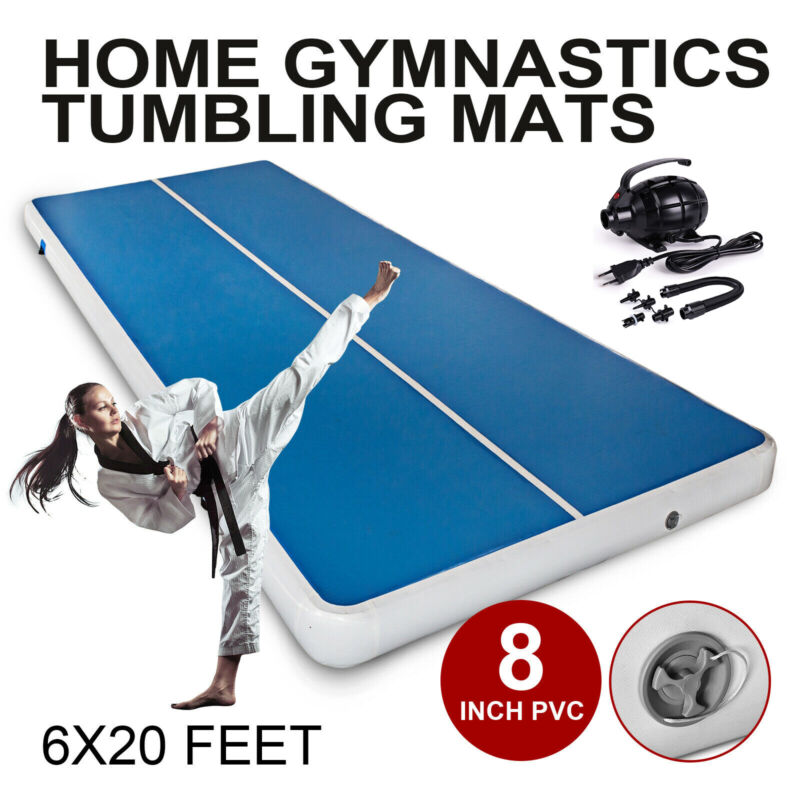 20Ft Air track Inflatable Floor Home Gymnastics Tumbling Mat GYM W.Pump Gift US