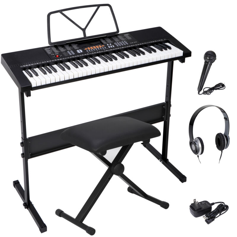 61 Key Electronic Keyboard Piano Organ with Microphone Stand Stool Earphone