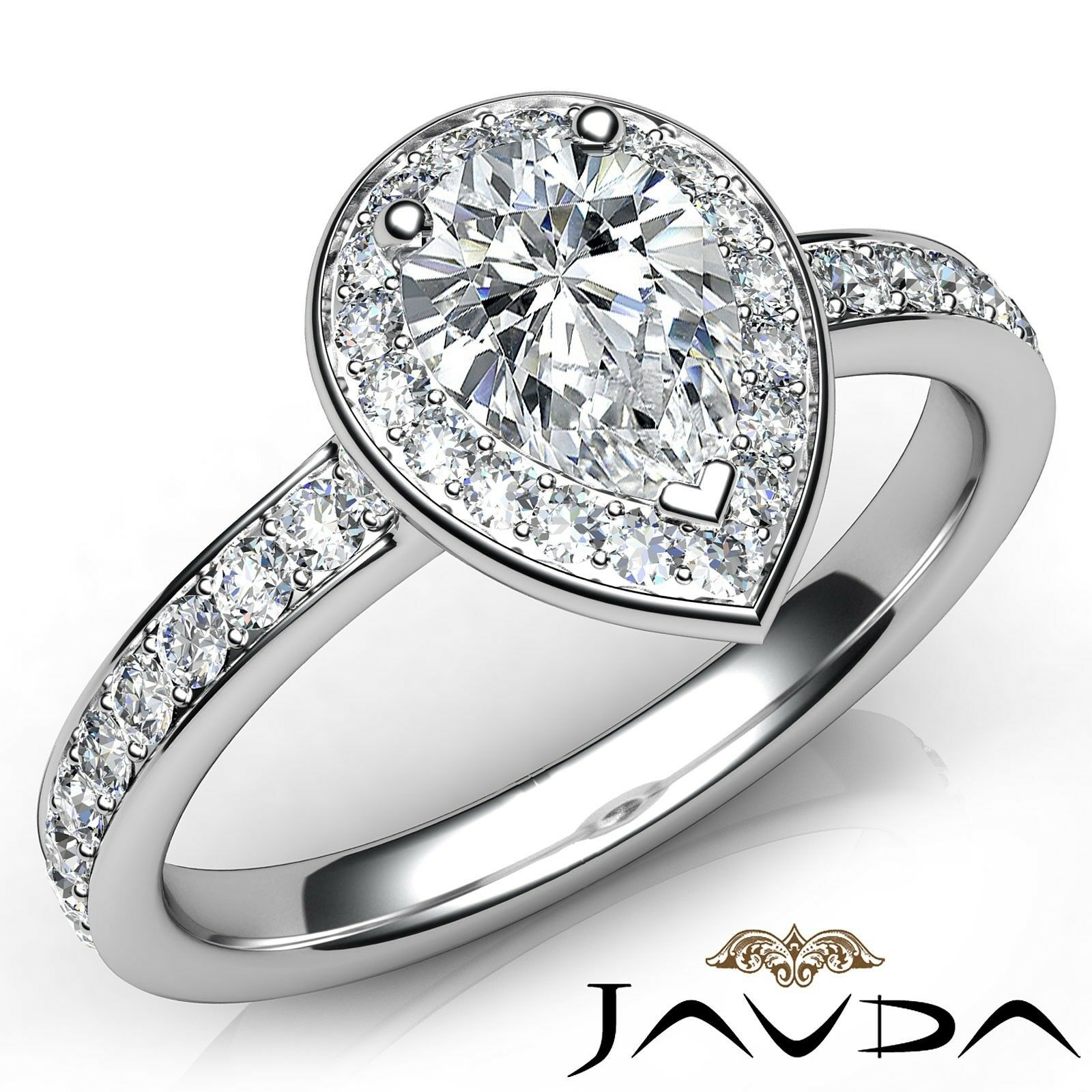 1.25ctw Halo Side-Stone Pave Set Pear Diamond Engagement Ring GIA F-VS1 W Gold