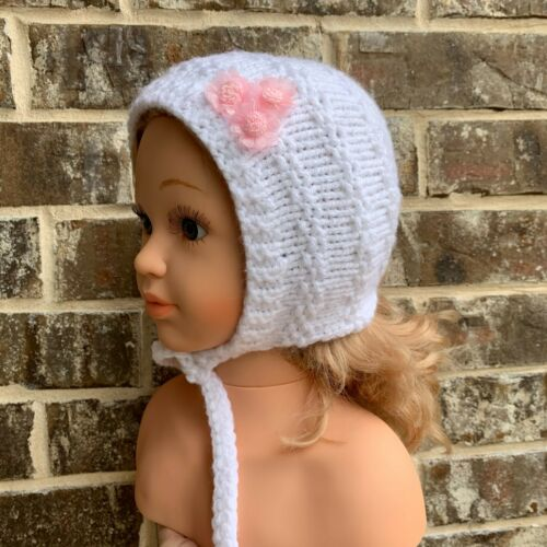 Baby Girl Hat Bonnet Knitted Acrylic Handmade White Size 9-12 Months