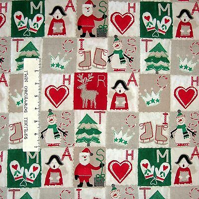 Craft Paper Christmas Fabric - Primitive Holiday Blocks Beige - Windham YARD Fabric Craft Papers